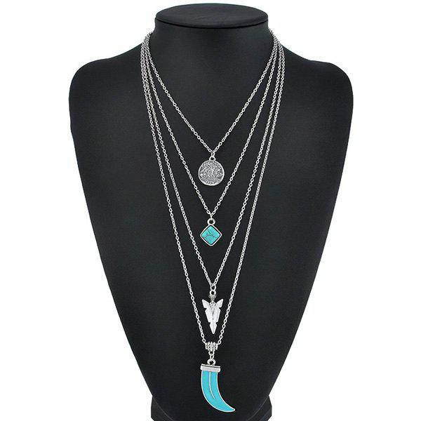 Layered Triangle Pendant Necklace triangle fringed paillette pendant necklace