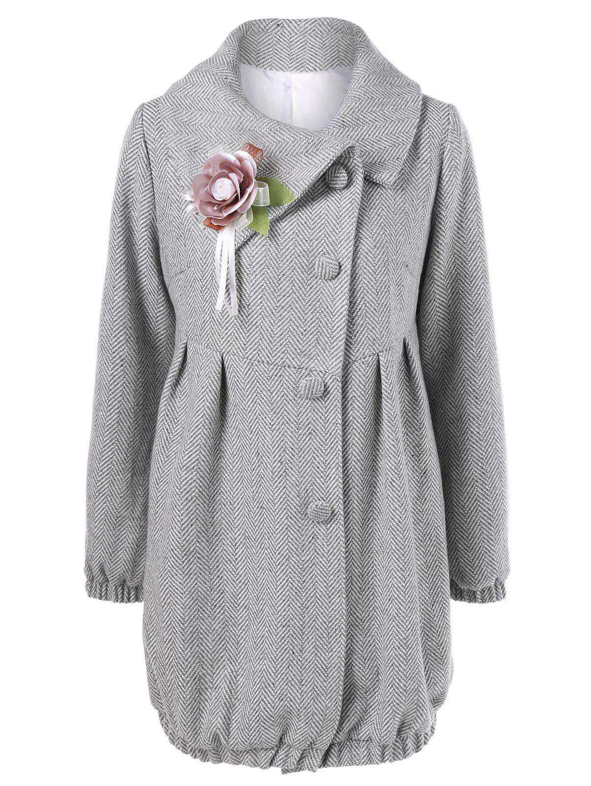 High Waist Flower Brooch CoatWomen<br><br><br>Size: M<br>Color: LIGHT GREY