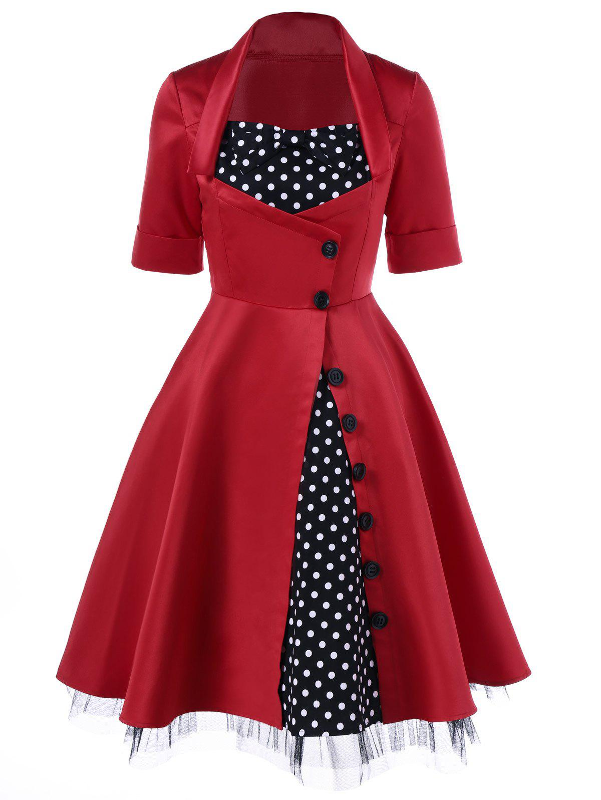 Polka Dot Trim Single Breasted Swing Dress - RED L