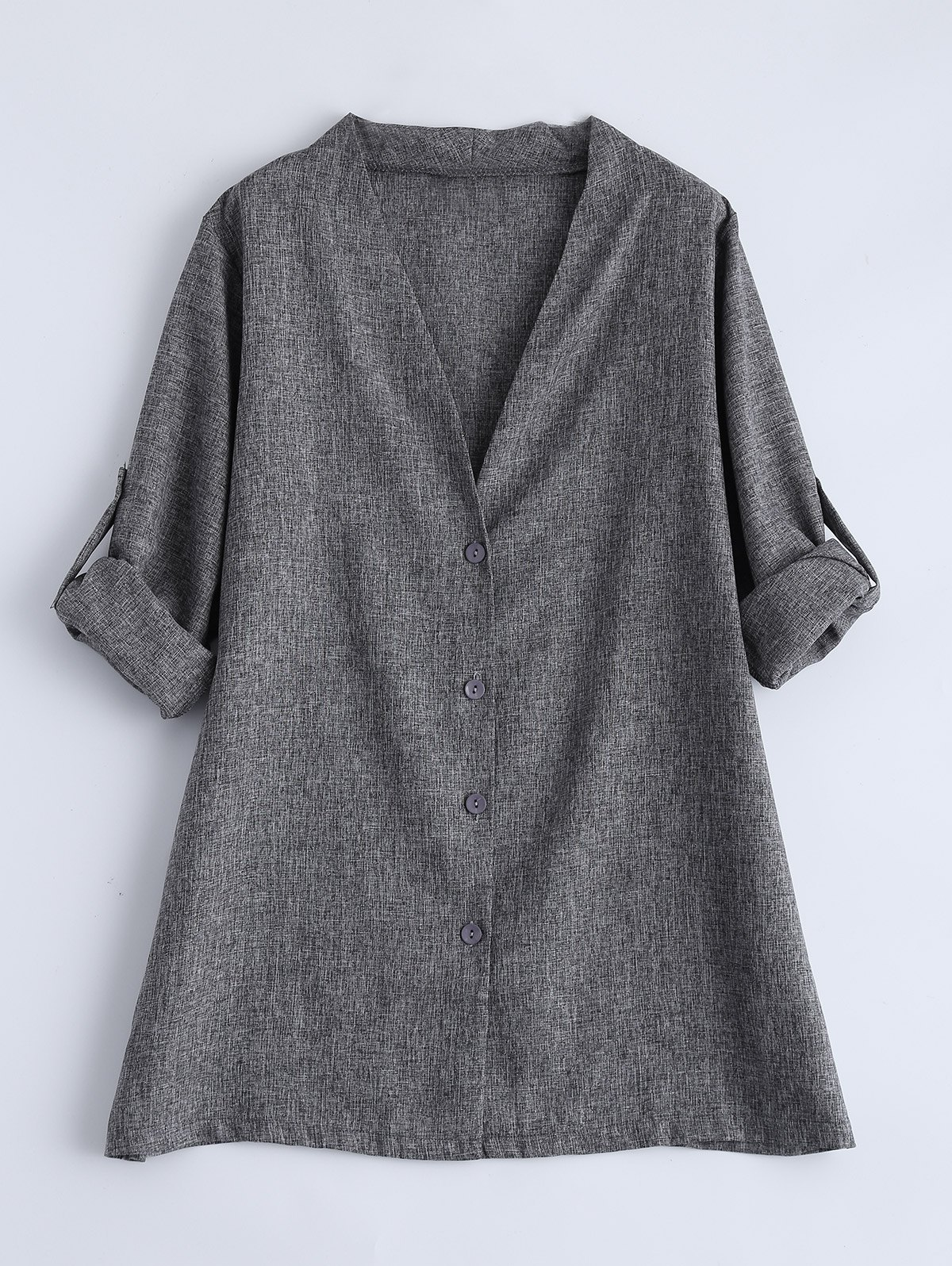 Plus Size Single Breasted CoatWomen<br><br><br>Size: 5XL<br>Color: GRAY
