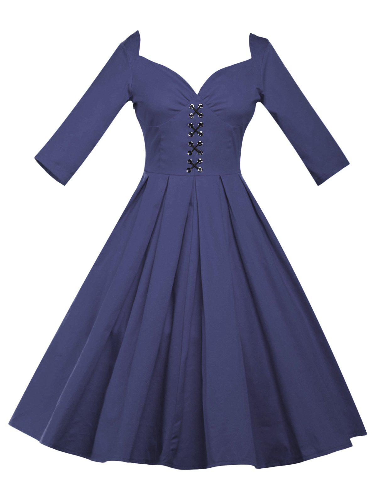 Lace Up Bowknot Vintage Swing Dress - PURPLISH BLUE XL
