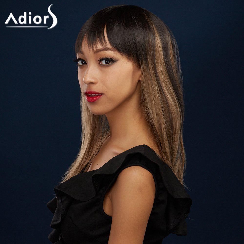 Attractive Full Bang Long Synthetic Silky Straight Black Brown Ombre Women's Adiors Wig - BLACK/BROWN