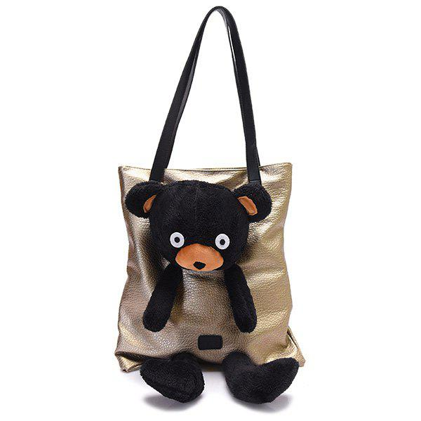 Faux Leather Bear Shoulder Bag - GOLDEN