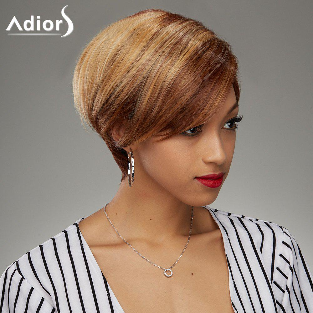 Soft Straight Blonde Highlight Synthetic Fashion Short Haircut Wig For Women - COLORMIX