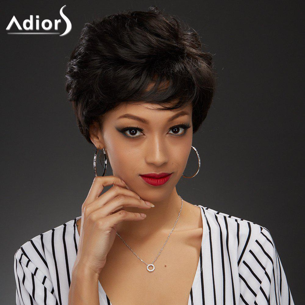 Elegant Short Black Brown Capless Fluffy Curly Women's Synthetic Wig - BLACK BROWN