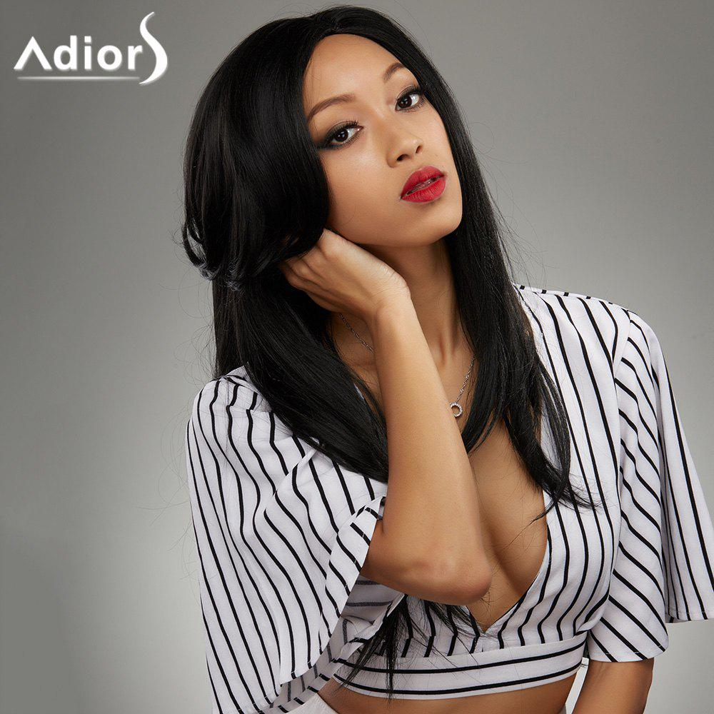 Attractive Long Side Bang Synthetic Black Straight Capless Wig For WomenHair<br><br><br>Color: BLACK