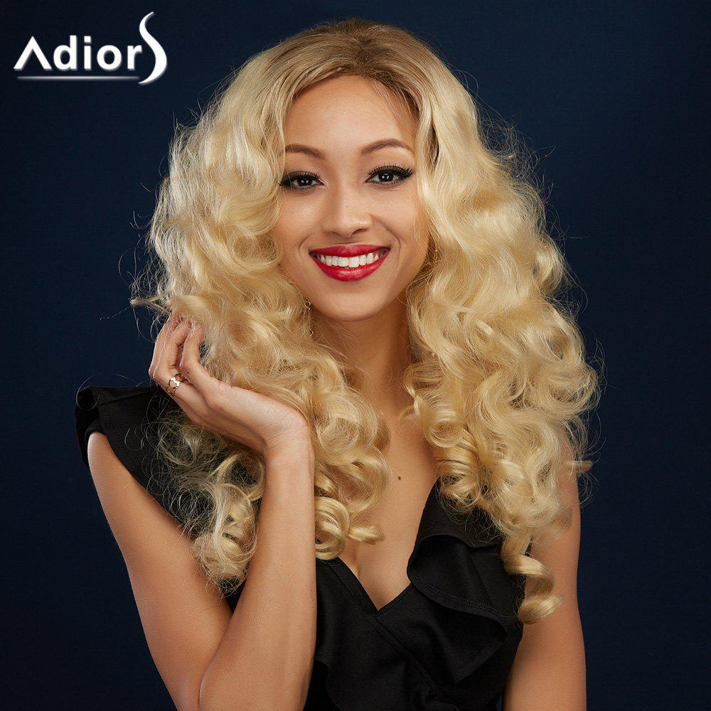 Long Sparkling Golden Mixed Fluffy Curly Side Parting Synthetic Wig - COLORMIX