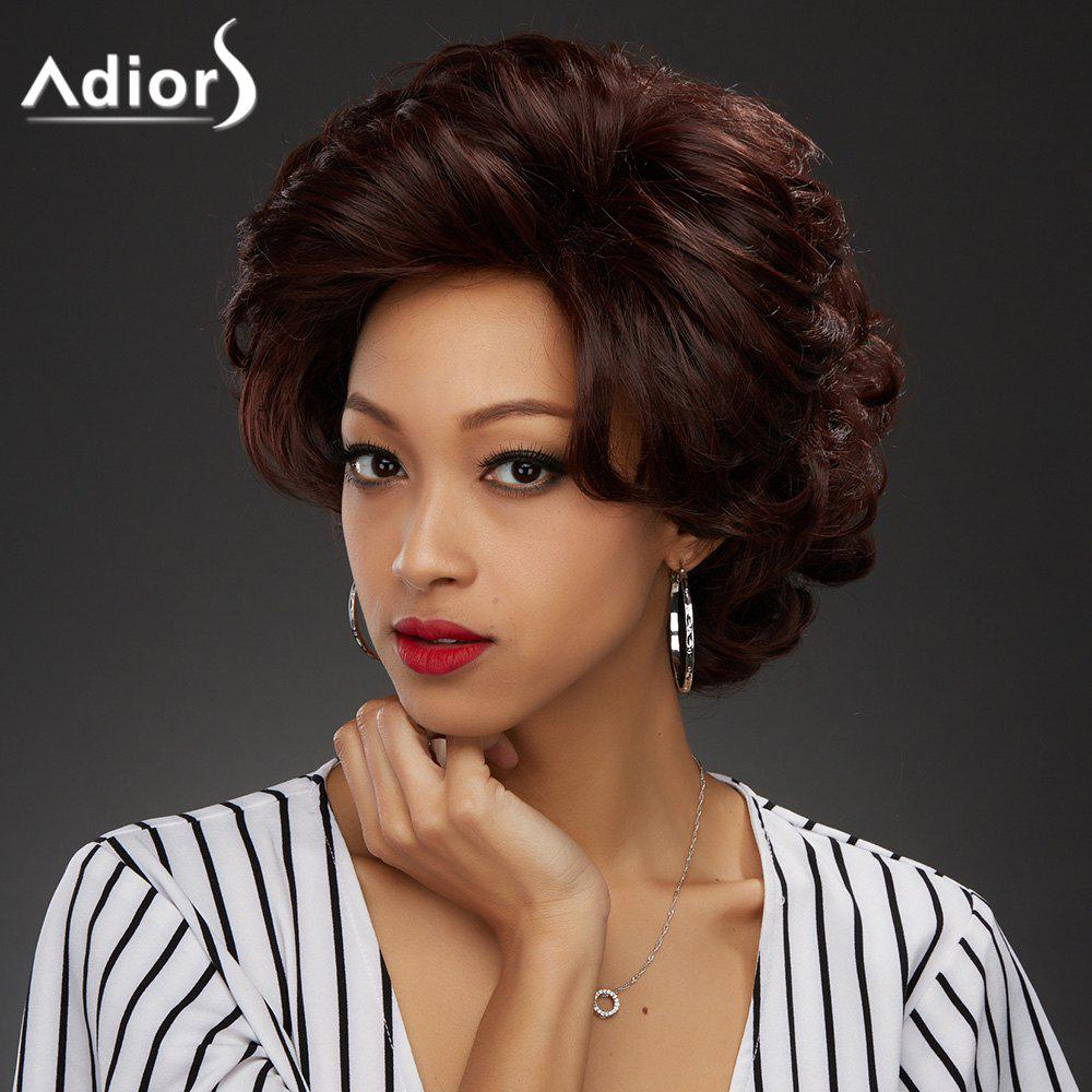 Adiors Short Curly Pixie Oblique Bang Synthetic WigHair<br><br><br>Color: WINE RED