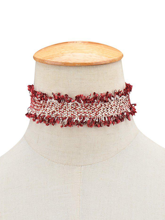 Fringed Knitted Choker NecklaceJewelry<br><br><br>Color: WINE RED