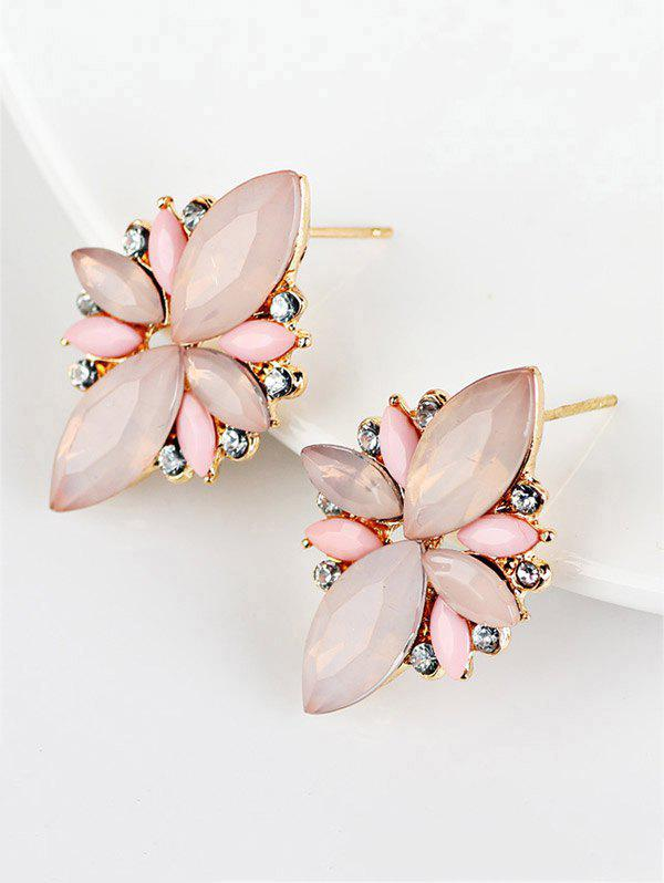 Candy Color Faux Gems Embellished Earrings, Pink