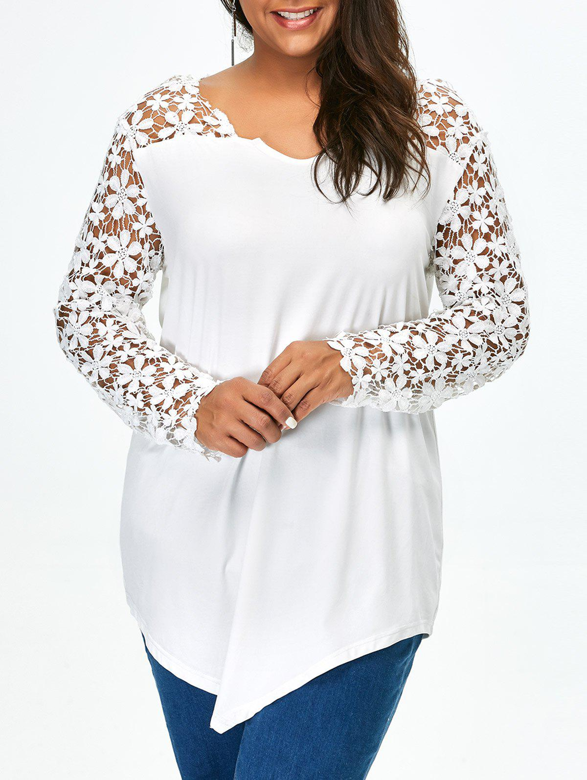 Lace Panel Plus Size Long Sleeve Tunic T Shirt floral lace panel tunic t shirt