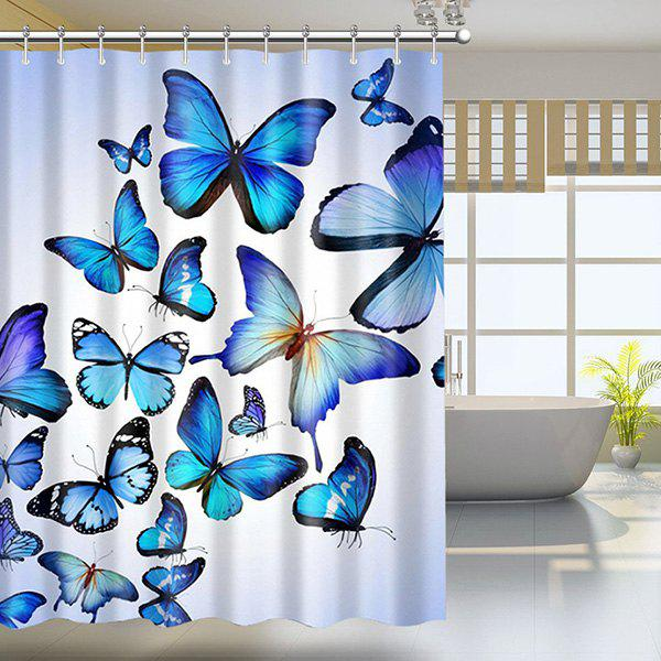 Butterfly Print Polyester Shower Curtain with Hook - COLORMIX