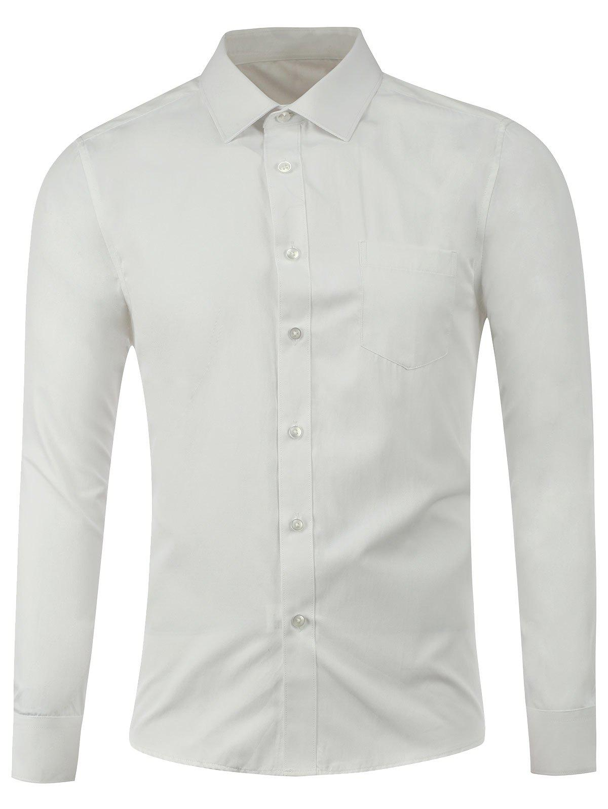 Pocket Button Front Plain Shirt - WHITE XL