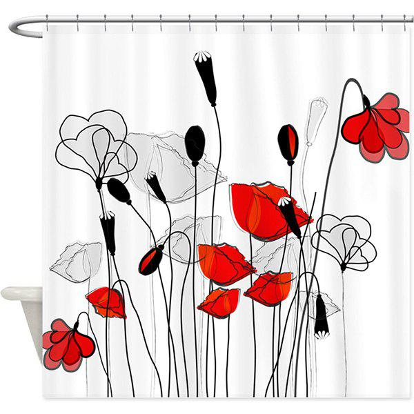 Flower Print Polyester Shower Curtain with Hooks - WHITE