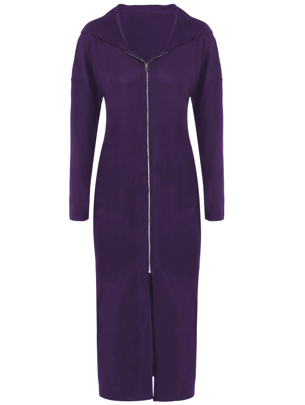 Plus Size Zip Front Bodycon Hooded Dress with Long Sleeves - DEEP PURPLE 4XL