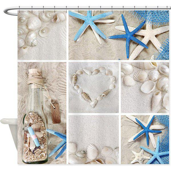 Starfish Shell Waterproof Polyester Fabric Shower Curtain waterproof polyester fabric shower curtain with hooks