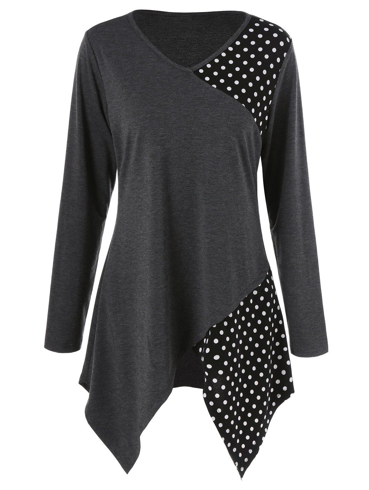 Plus Size Polka Dot Trim Asymmetrical Long Sleeve T-Shirt plus size polka dot baggy t shirt