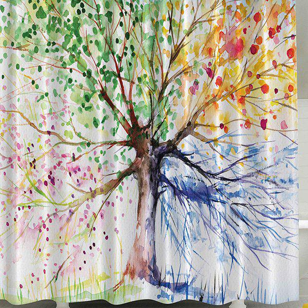 Four Season Tree Waterproof Polyester Shower Curtain - COLORFUL