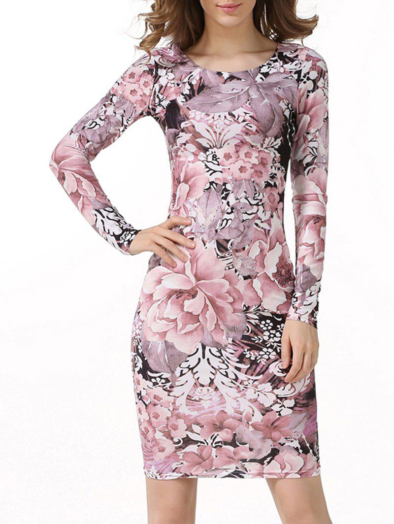 Knee Length Floral Printed Bodycon DressWomen<br><br><br>Size: M<br>Color: SHALLOW PINK