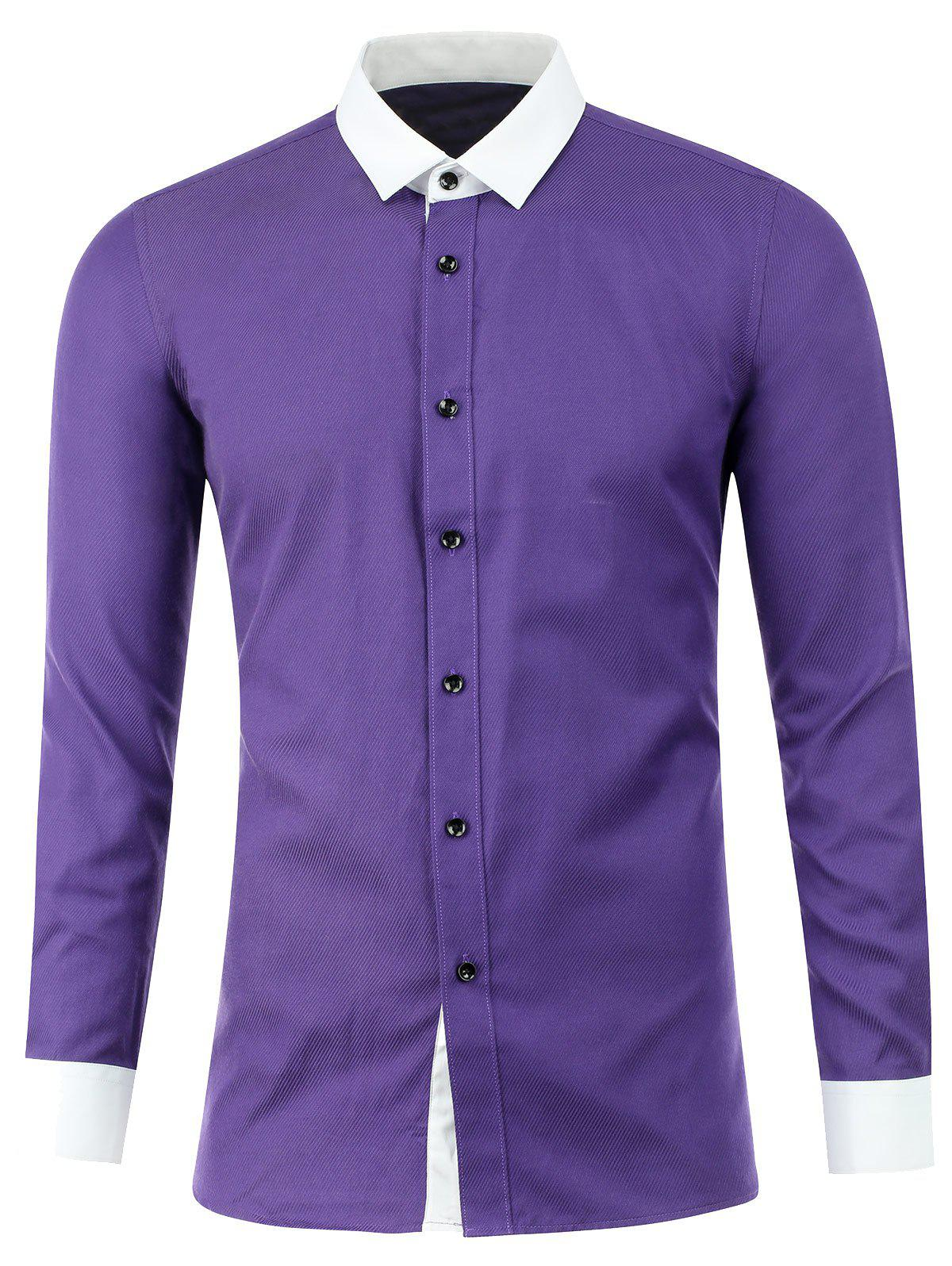 Texture Button Up Two Tone Shirt - PURPLE 2XL