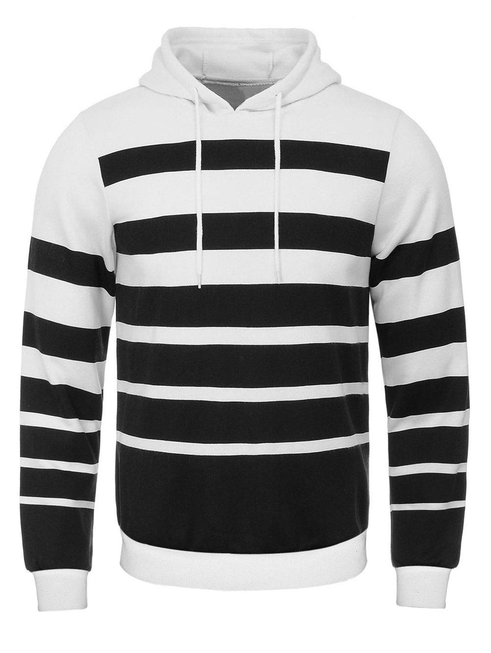 Broad Stripe Print Hooded Flocking Hoodie - WHITE/BLACK S