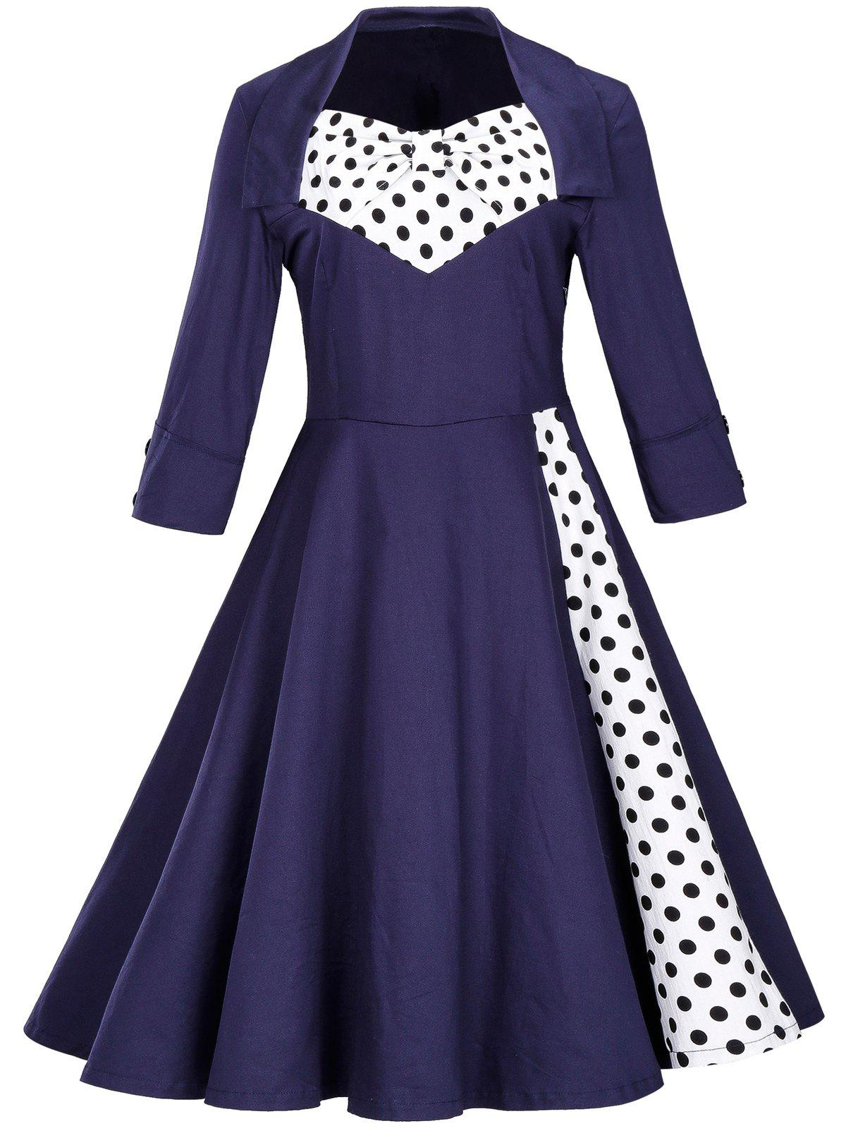 Vintage Polka Dot Bowknot Swing Fit and Flare Dress vintage polka dot floral fit and flare dress