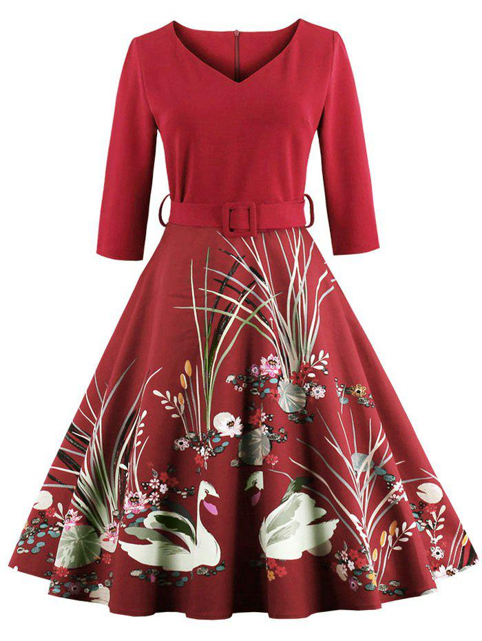 Vintage Printed Fit and Flare Waisted Dress - RED 4XL