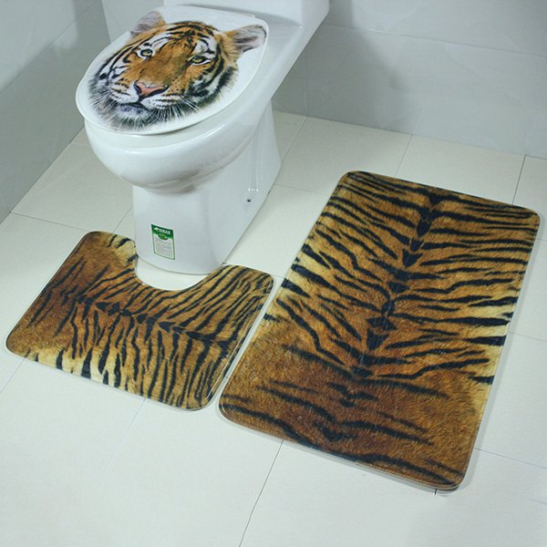 3Pcs Tiger Pattern Antislip Toilet Contour Lid Cover Carpet Set