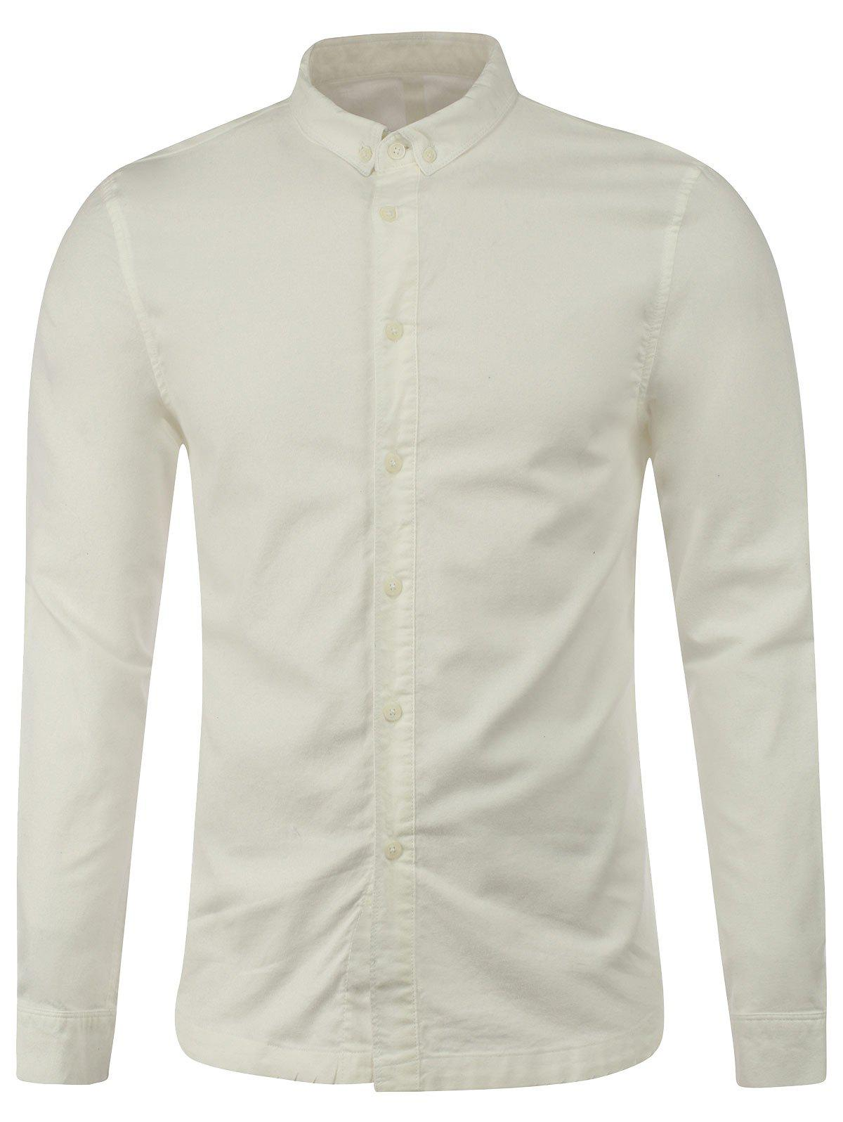 Long Sleeve Plain Button Up Shirt - WHITE S