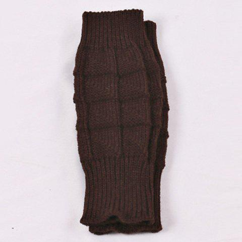 Plain Crochet Knitted Wrist Warmers - DARK COFFEE