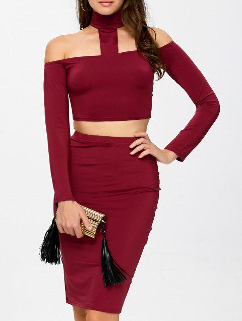 Crop Top and High Waist Skirt Twinset - BURGUNDY L