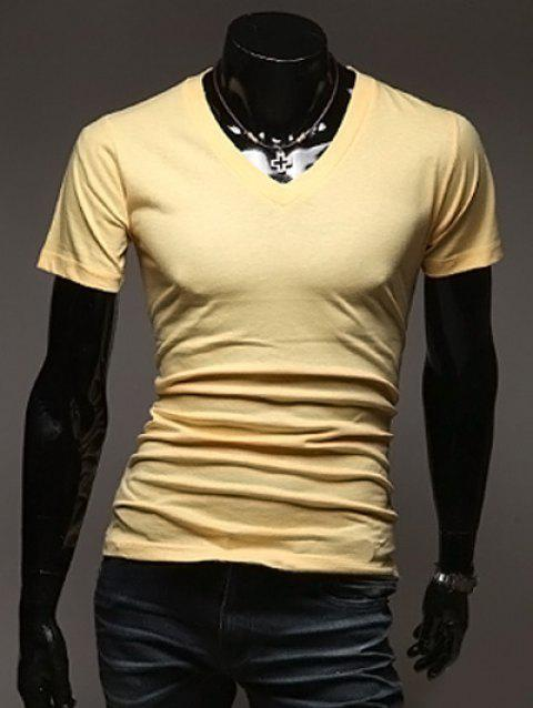 Casual Slimming V-Neck Short Solid Color T-Shirt For Men - YELLOW XL