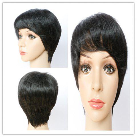 Spiffy Black Straight Capless Short Haircut Synthetic Wig For Women - BLACK