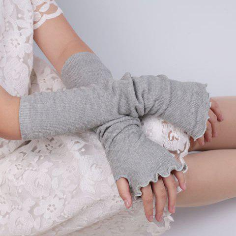 Flouncing Knit Fingerless Arm Warmers - LIGHT GRAY