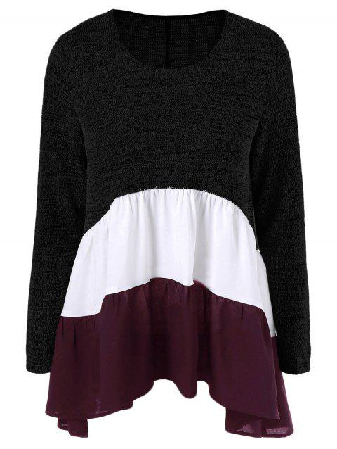 Color Block Tiered T-Shirt - BLACK M