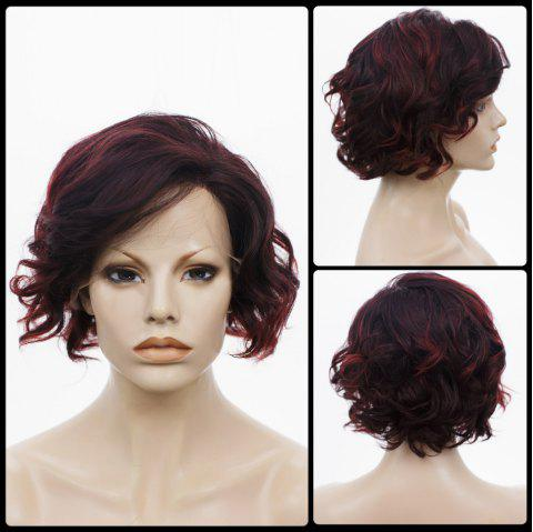 Side Bang Short Curly Highlight Lace Front Human Hair Wig - COLORMIX