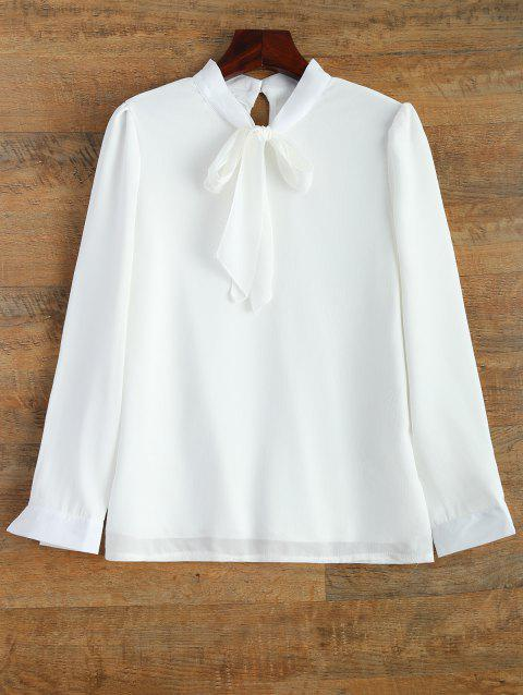 Long Sleeve Bow Tie Collar Blouse - WHITE M