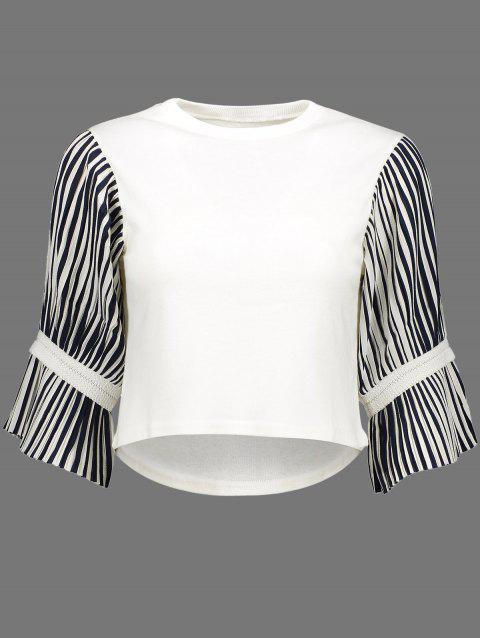 Stripe Pleated Crew Neck Cropped Blouse - WHITE L