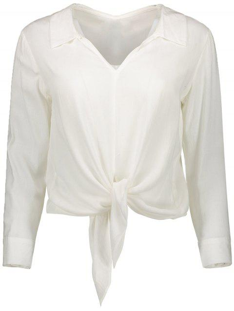 Long Sleeve Cropped Front Tie Shirt - WHITE L