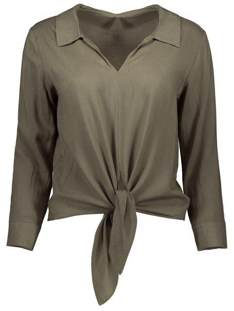 Long Sleeve Cropped Front Tie Shirt - ARMY GREEN S