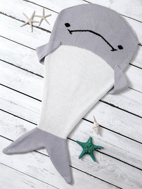 Color Block Knitted Dolphin Shape Blanket Throw For Baby - LIGHT GRAY