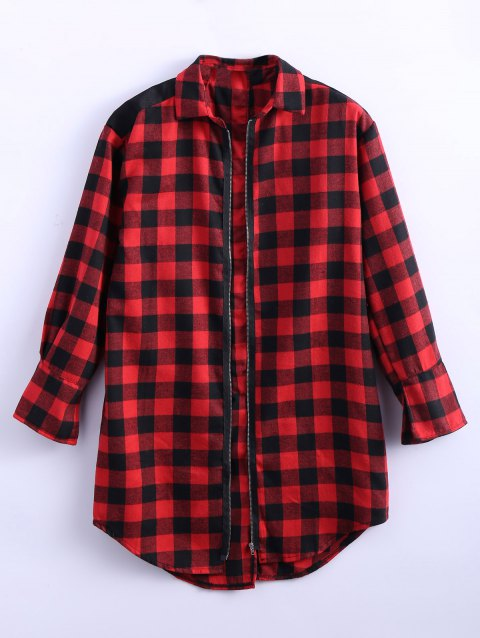 Zipper Slit Long Plaid Oversized Flannel Shirt - RED M