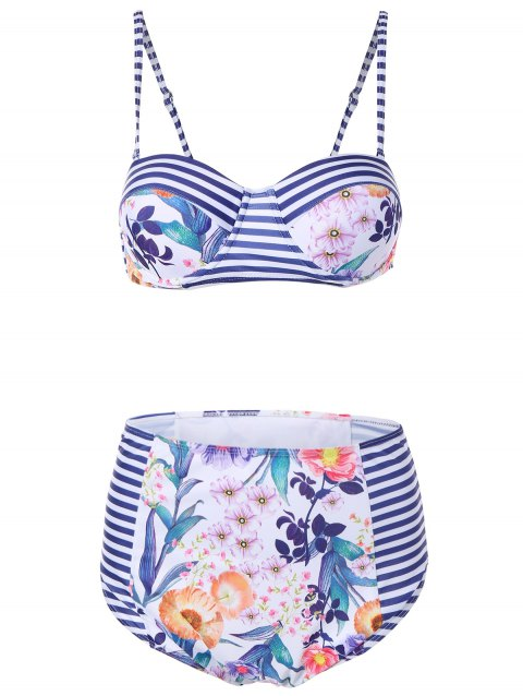 Underwire Floral Striped Bikini Set - BLUE STRIPE S
