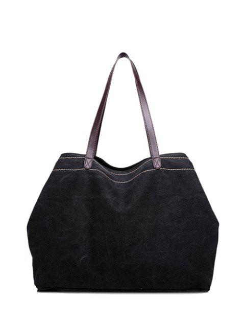 Leisure Stitching Canvas Shoulder Bag - BLACK