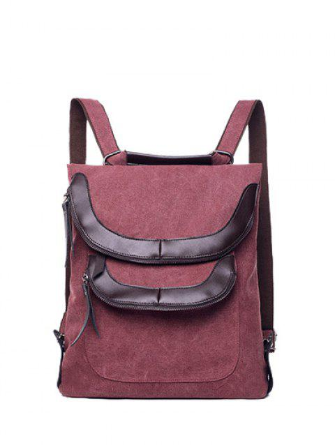 fefd551f24 2019 PU Insert Canvas Convertible Backpack In PURPLISH RED ...