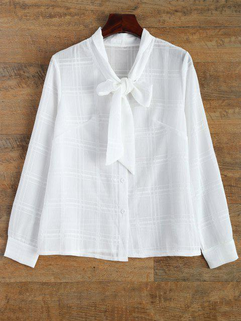 Plaid Pussy Bow Long Sleeves Blouse - WHITE L