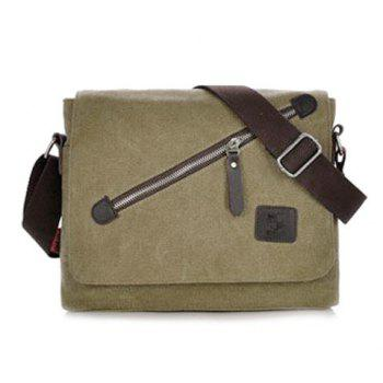 Zipper Canvas Flapped Messenger Bag