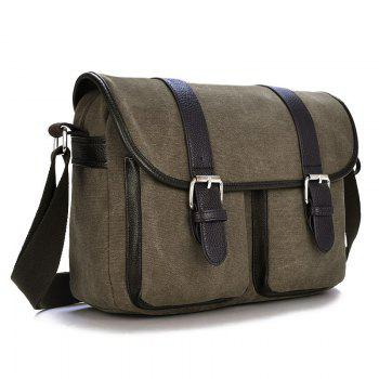 Canvas Double Buckles Messenger Bag -  COFFEE