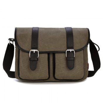 Canvas Double Buckles Messenger Bag - COFFEE COFFEE