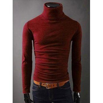 Turtleneck Long Sleeves Plain T-Shirt
